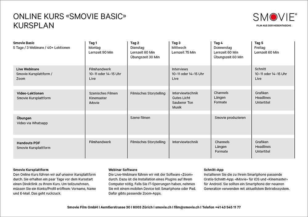 Kursplan Online Kurs «Smovie Basic – Filmen mit dem Smartphone»